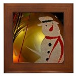 Frosted Snowman Ornament Framed Tile