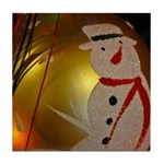 Frosted Snowman Ornament Tile Coaster