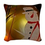 Frosted Snowman Ornament Woven Throw Pillow