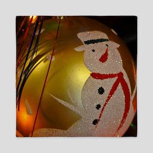 Frosted Snowman Ornament Queen Duvet