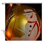 Frosted Snowman Ornament Shower Curtain