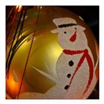 Frosted Snowman Ornament Square Car Magnet 3
