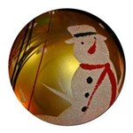 Frosted Snowman Ornament Round Car Magnet