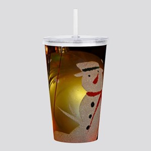 Frosted Snowman Ornament Acrylic Double-wall Tumbl
