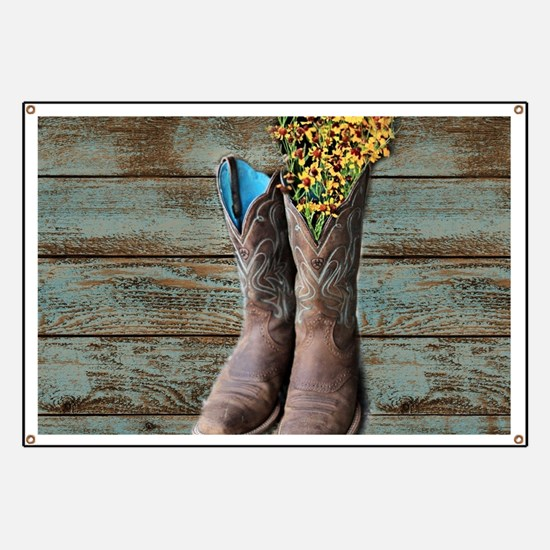 cowboy boots barn wood Banner