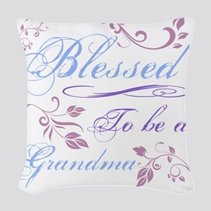 Blessed To Be A Grandma Woven Throw Pillow