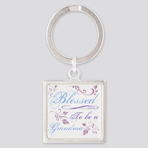 Blessed To Be A Grandma Square Keychain