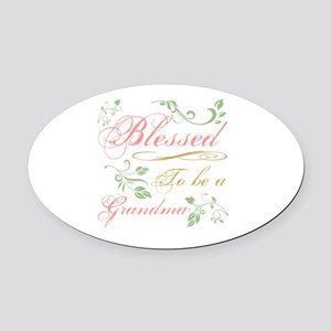 Blessed To Be A Grandma Oval Car Magnet
