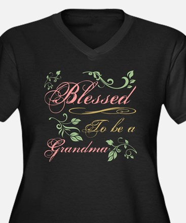 Blessed To B Women's Plus Size V-Neck Dark T-Shirt