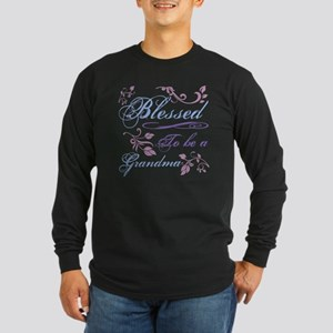 Blessed To Be A Grandma Long Sleeve Dark T-Shirt