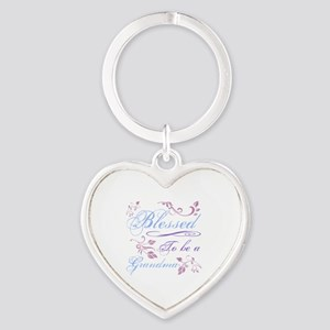 Blessed To Be A Grandma Heart Keychain