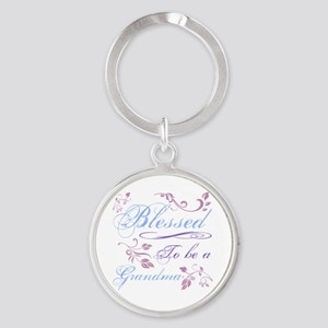 Blessed To Be A Grandma Round Keychain