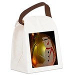 Frosted Snowman Ornament Canvas Lunch Bag