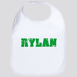 Rylan Name Weathered Green Design Baby Bib