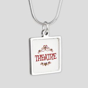 Theatre Hearts Silver Square Necklace