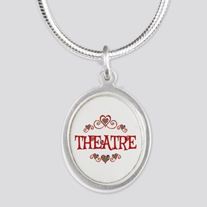 Theatre Hearts Silver Oval Necklace