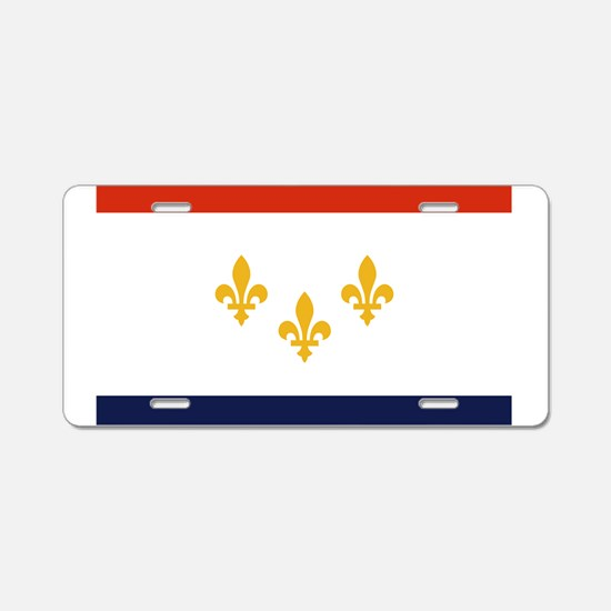 New Orleans Flag Aluminum License Plate