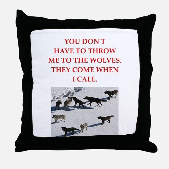 thrpwn to the wolves Throw Pillow