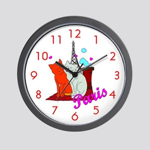Paris Kitties Wall Clock