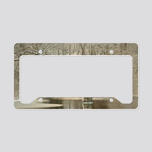 An Arched Stone Bridge License Plate Holder