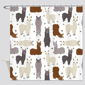 Alpaca Posse Pattern Shower Curtain