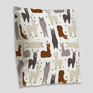 Alpaca Posse Pattern Burlap Throw Pillow