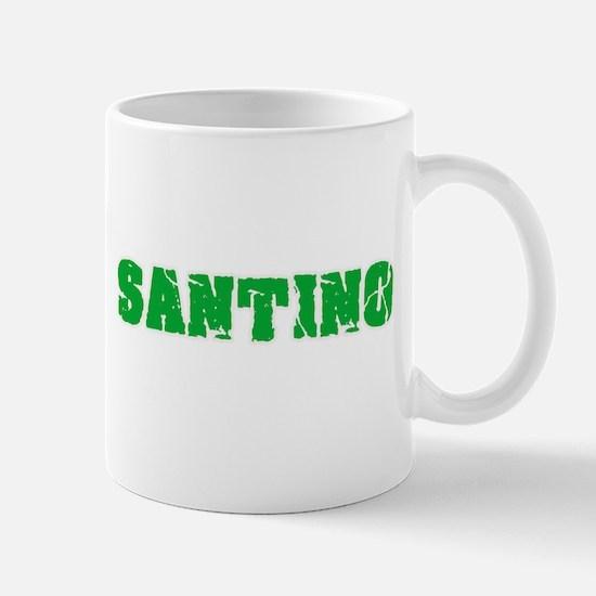 Santino Name Weathered Green Design Mugs