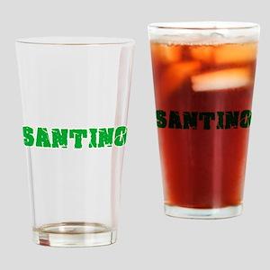 Santino Name Weathered Green Design Drinking Glass