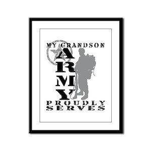 Grandson Proudly Serves 2 - ARMY Framed Panel Prin