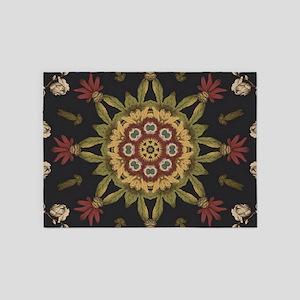 hipster vintage floral mandala 5'x7'Area Rug