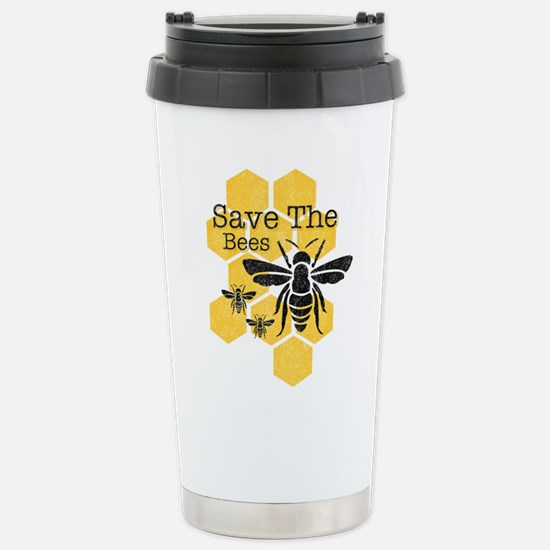 Honeycomb Save The Bees Stainless Steel Travel Mug