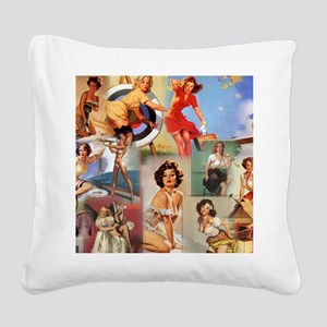 Pin up Collage Square Canvas Pillow