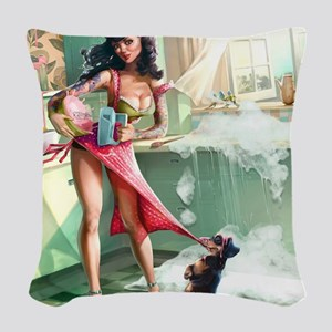Pin up Girl In Kitchen Woven Throw Pillow