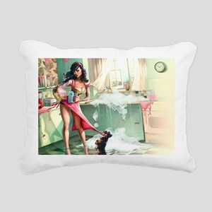 Pin up Girl In Kitchen Rectangular Canvas Pillow