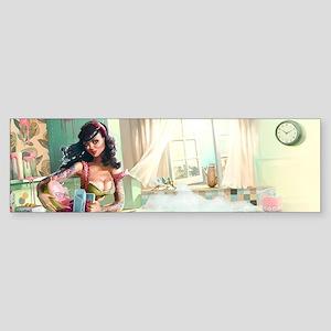 Pin up Girl In Kitchen Bumper Sticker