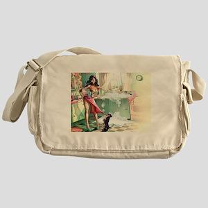 Pin up Girl In Kitchen Messenger Bag