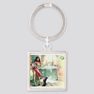 Pin up Girl In Kitchen Keychains