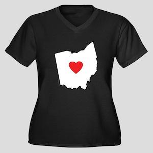 I Love Ohio Women's Plus Size V-Neck Dark T-Shirt