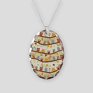 Autumn Owls Necklace Oval Charm