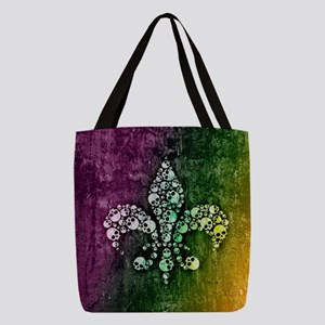skull-fleur-de-lis_b Polyester Tote Bag