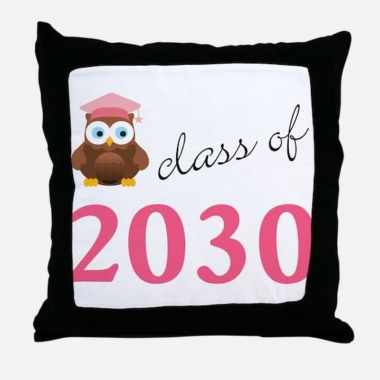 2030 pink owl.png Throw Pillow
