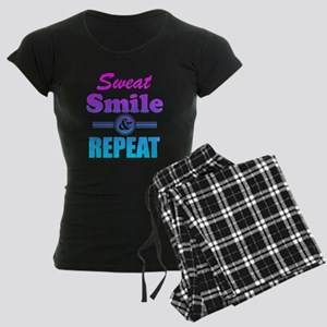 Sweat Smile And Repeat Women's Dark Pajamas