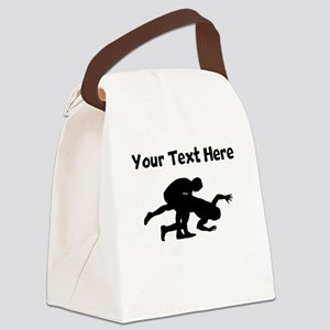 Wrestling Silhouette Canvas Lunch Bag