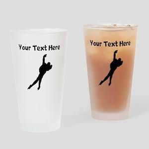 Speed Skater Silhouette Drinking Glass