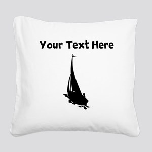 Sail Boat Silhouette Square Canvas Pillow