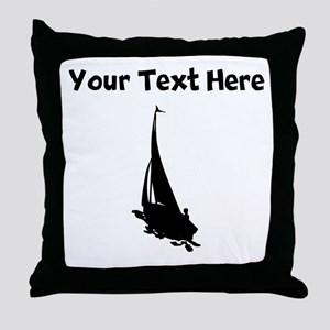 Sail Boat Silhouette Throw Pillow