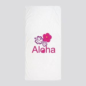 Pink Hibiscus Aloha Beach Towel