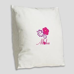 Pink Hibiscus Aloha Burlap Throw Pillow
