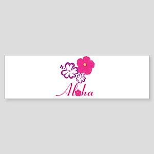Pink Hibiscus Aloha Bumper Sticker