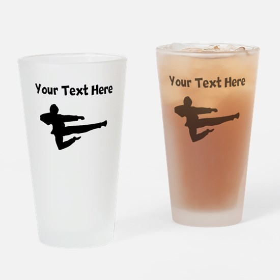 Jump Kick Silhouette Drinking Glass
